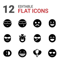 12 happiness icons vector