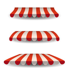 A set of striped red white awnings canopies for vector