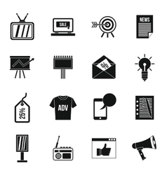 Advertisement icons set simple style vector image