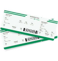 Airplane ticket blank green boarding pass vector