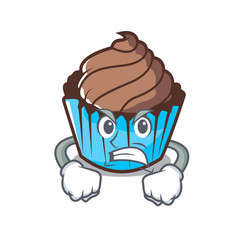 Angry chocolate cupcake mascot cartoon vector