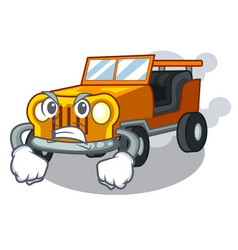 Angry jeep car toys in shape character vector