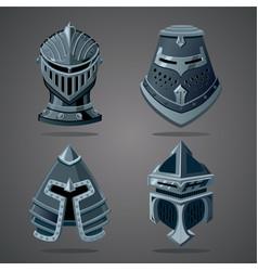 Antique knight helmet set cartoon vector