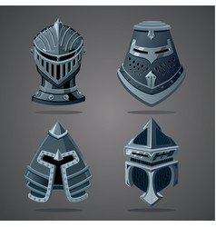 antique knight helmet set cartoon vector image