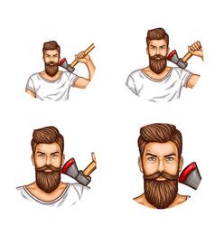 Avatars of a man with a beard mustache ax vector