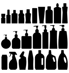 bathroom silhouette set vector image