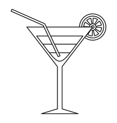 Beach cocktail icon outline style vector