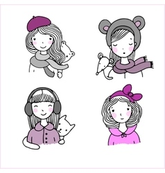 Beautiful girls in hats vector