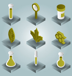Biology color gradient isometric icons vector