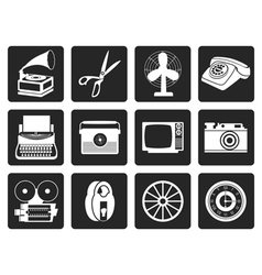 Black Retro business and office object icons vector
