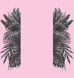 Black white floral botanical border pink vector