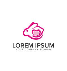 bunny love logo design concept template vector image