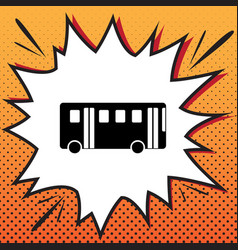 bus simple sign comics style icon on pop vector image