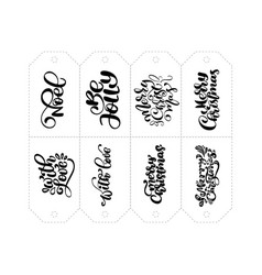 calligraphy set of phrases for tags vector image