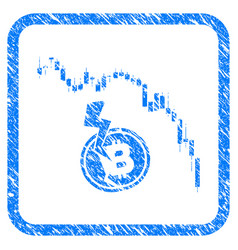 candlestick chart bitcoin crash framed stamp vector image