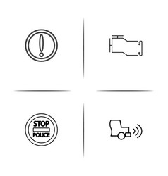 cars and transportation simple linear icon set vector image