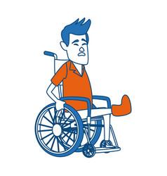 cartoon man sitting wheelchair with fractured leg vector image