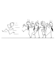 cartoon of man running away from crowd of undead vector image