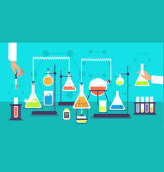 Chemical equipment in chemistry analysis vector