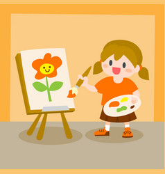 Children little girl painting on canvas vector