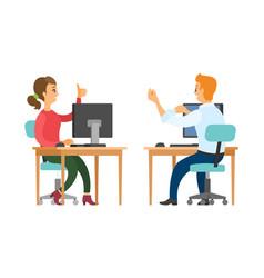 coworkers talking at work woman and man at job vector image