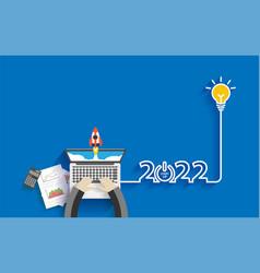 Creative light bulb idea 2022 new year business vector