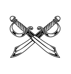 Crossed pirate swords in engraving style design vector