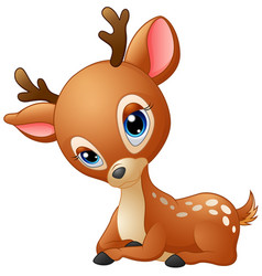 Cute baby deer cartoon vector