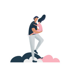 Dad holding daughter happy family vector