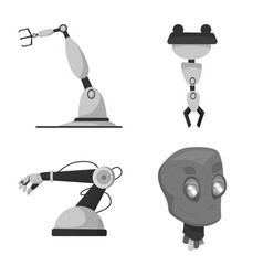design of robot and factory logo set of vector image