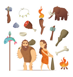 different tools from prehistoric period primitive vector image