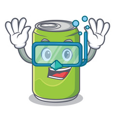 diving soft drink character cartoon vector image