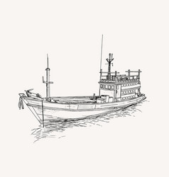 drawing of fishing trawler at the sea sketch vector image