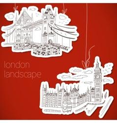 drawn landscape in vintage style vector image