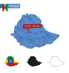 Ethiopia blue low poly map with capital addis vector