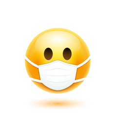face mask emoji cartoon icon covid19 19 vector image