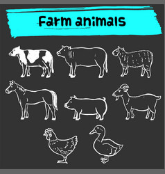 farm animal doodle sketch icon set vector image