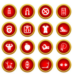 Fitness icon red circle set vector