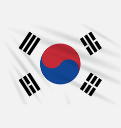 flag south korea swaying in wind realistic vector image