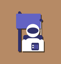 Flat icon design collection astronaut and flag vector