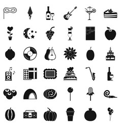 Fruit party icons set simple style vector