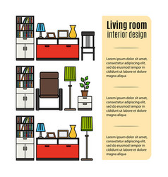 Furniture for living room infographic vector