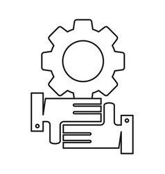 Gear machine hand commitment teamwork together vector