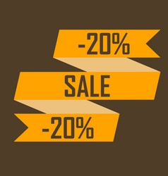 gold ribbon picture discounts for twenty percent vector image