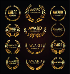 golden award signs with laurel wreath isolated vector image