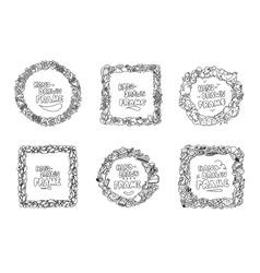 Hand drawn frames set Usable for greeting cards vector image