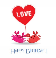 happy birthday with two crab vector image