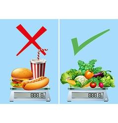 Healthy food versus junkfood vector
