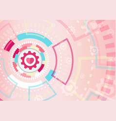 heart in technology background concept valentines vector image
