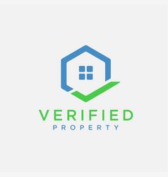 home estate with checkmark logo icon vector image